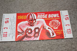 1968 Rose Bowl Full Ticket, Indiana University vs USC - Vintage Indy Sports