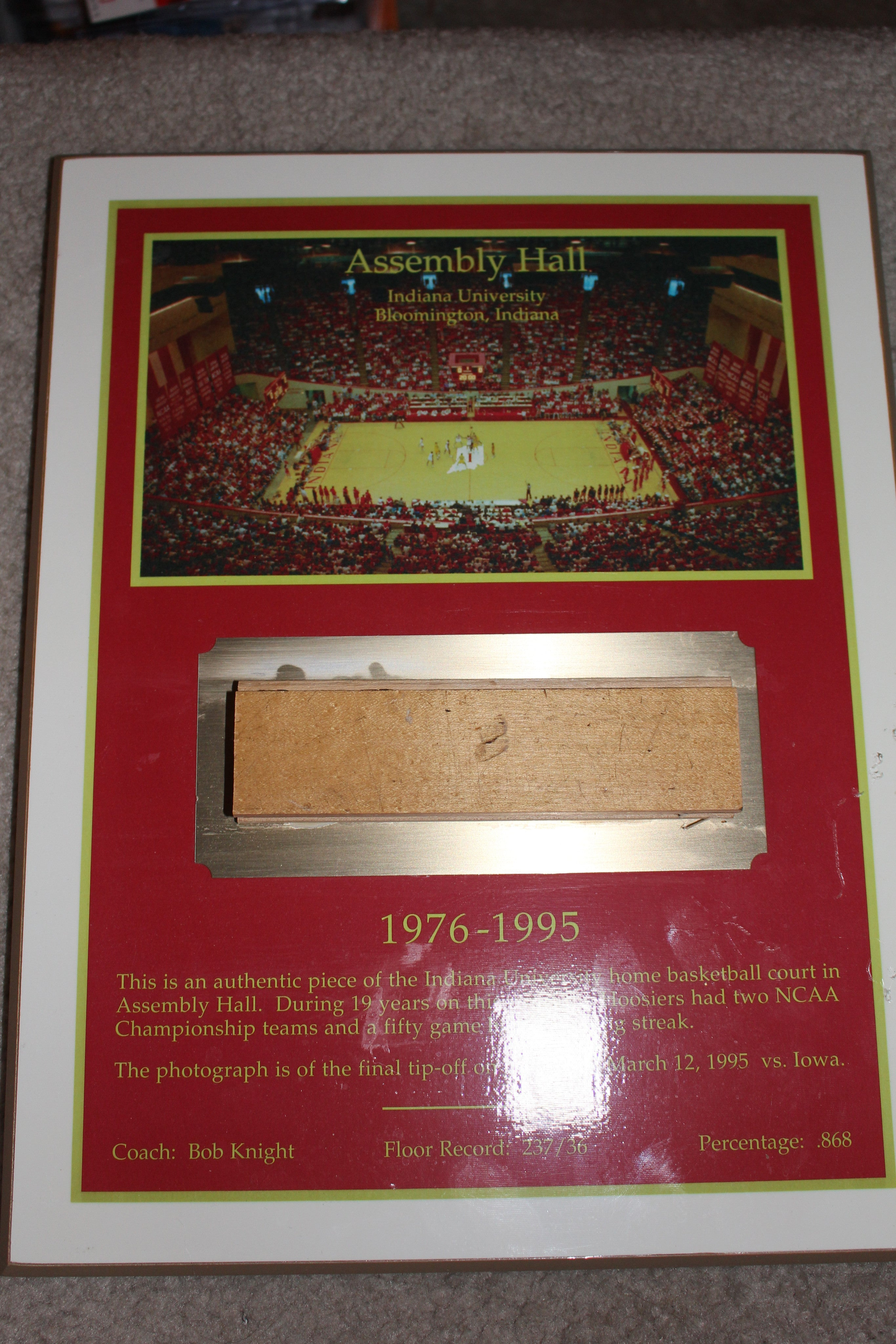 1976-95 Indiana University Basketball Assembly Hall Floor Piece Plaque - Vintage Indy Sports