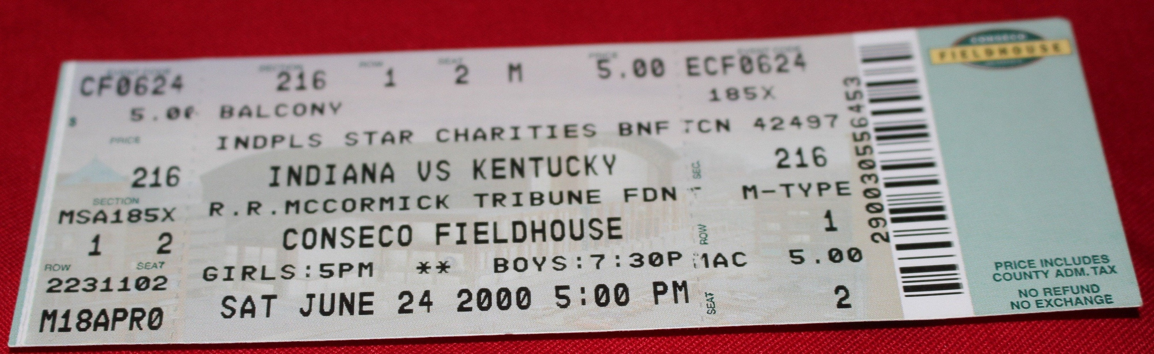 2000 Indiana vs Kentucky High School Basketball All Star Game Ticket