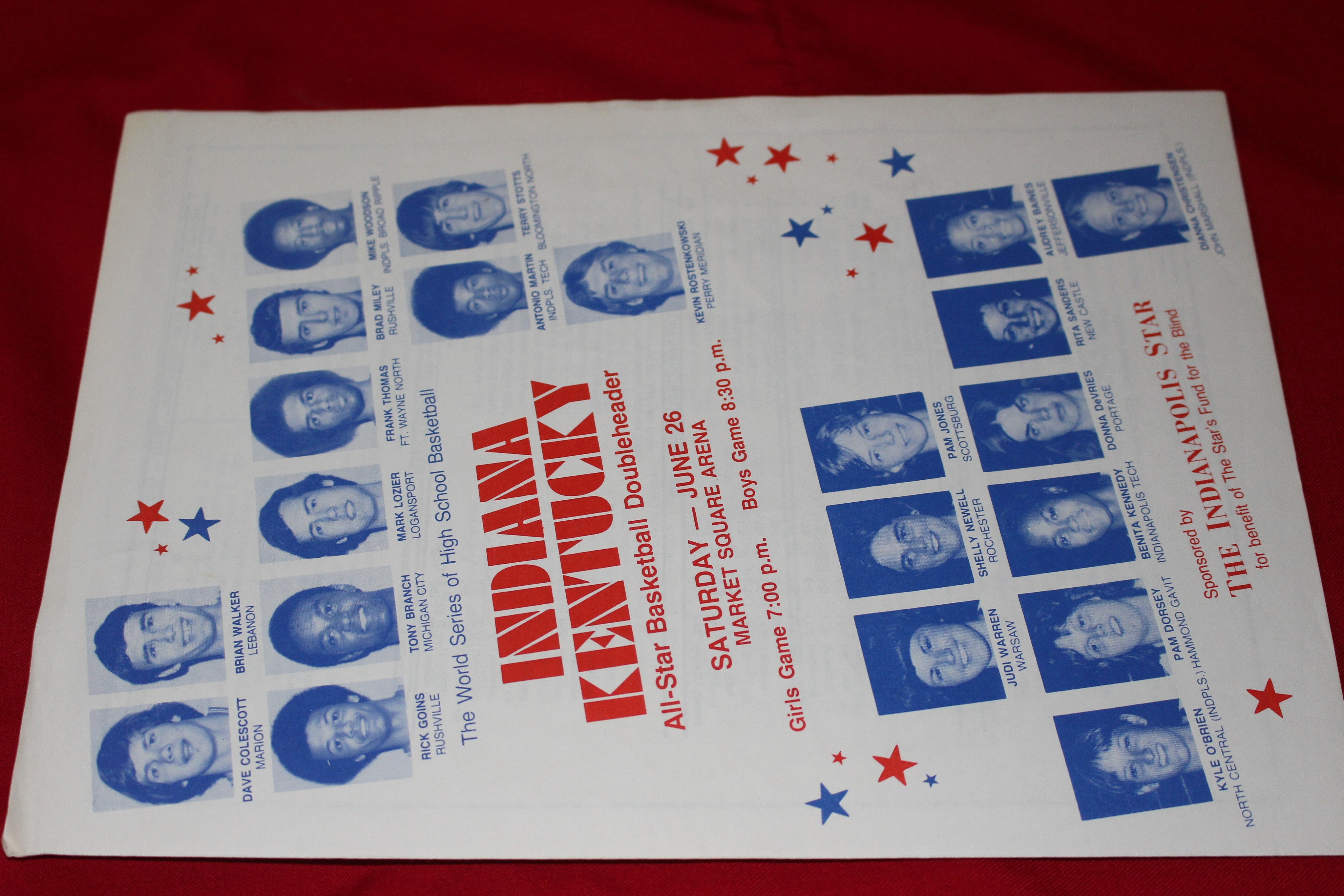 1976 Indiana vs Kentucky High School Basketball All Star Game Program - Vintage Indy Sports