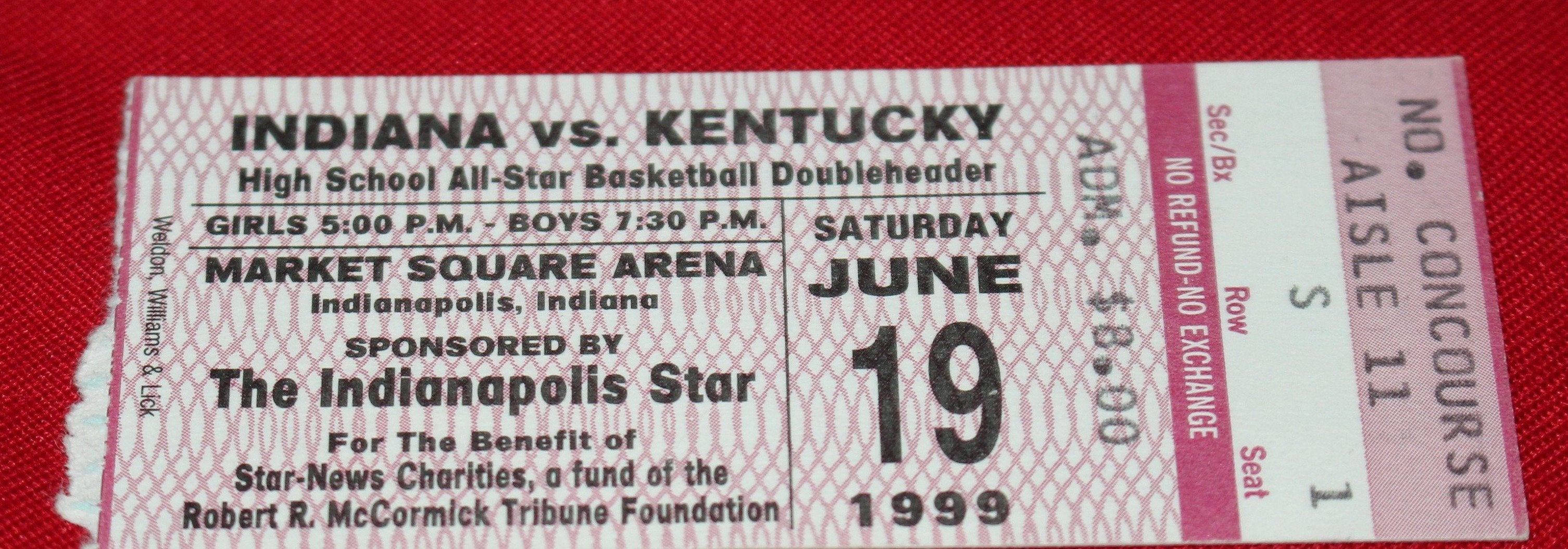 1999 Indiana vs Kentucky High School Basketball All Star Game Ticket Stub
