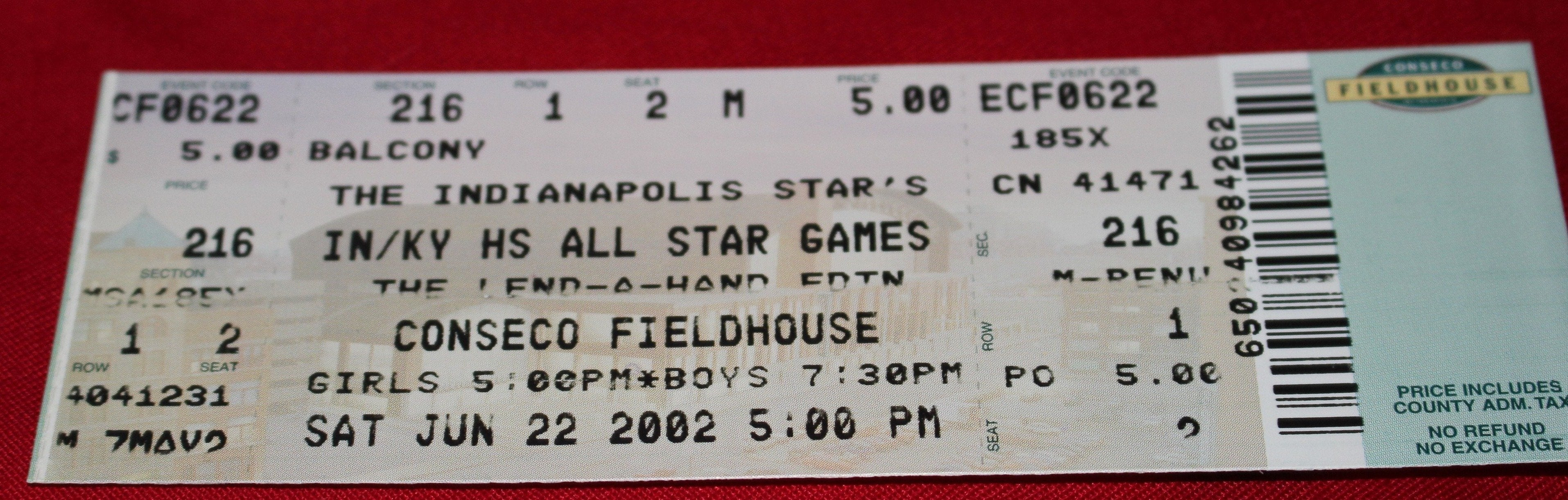 2002 Indiana vs Kentucky High School Basketball All Star Game Ticket