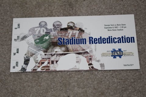 1997 Georgia Tech vs Notre Dame Stadium Redication Game Ticket
