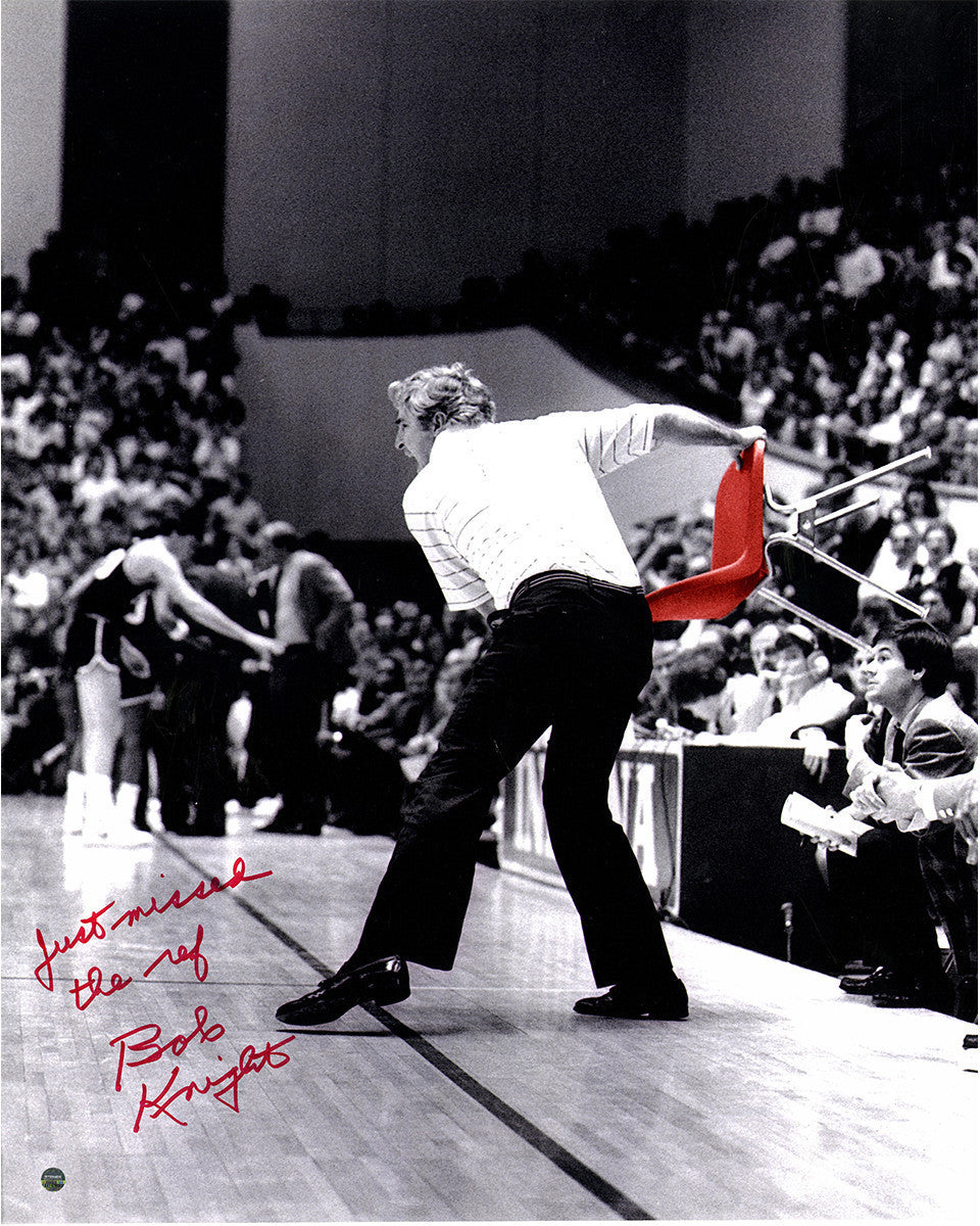 Bob Knight Autographed 16x20 Chair Throw Photo, Inscribed, Steiner COA - Vintage Indy Sports