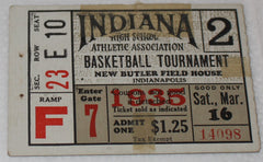 1935 Indiana High School Basketball State Finals Ticket Stub