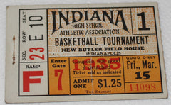 1935 Indiana High School Basketball State Finals Session 1 Ticket Stub