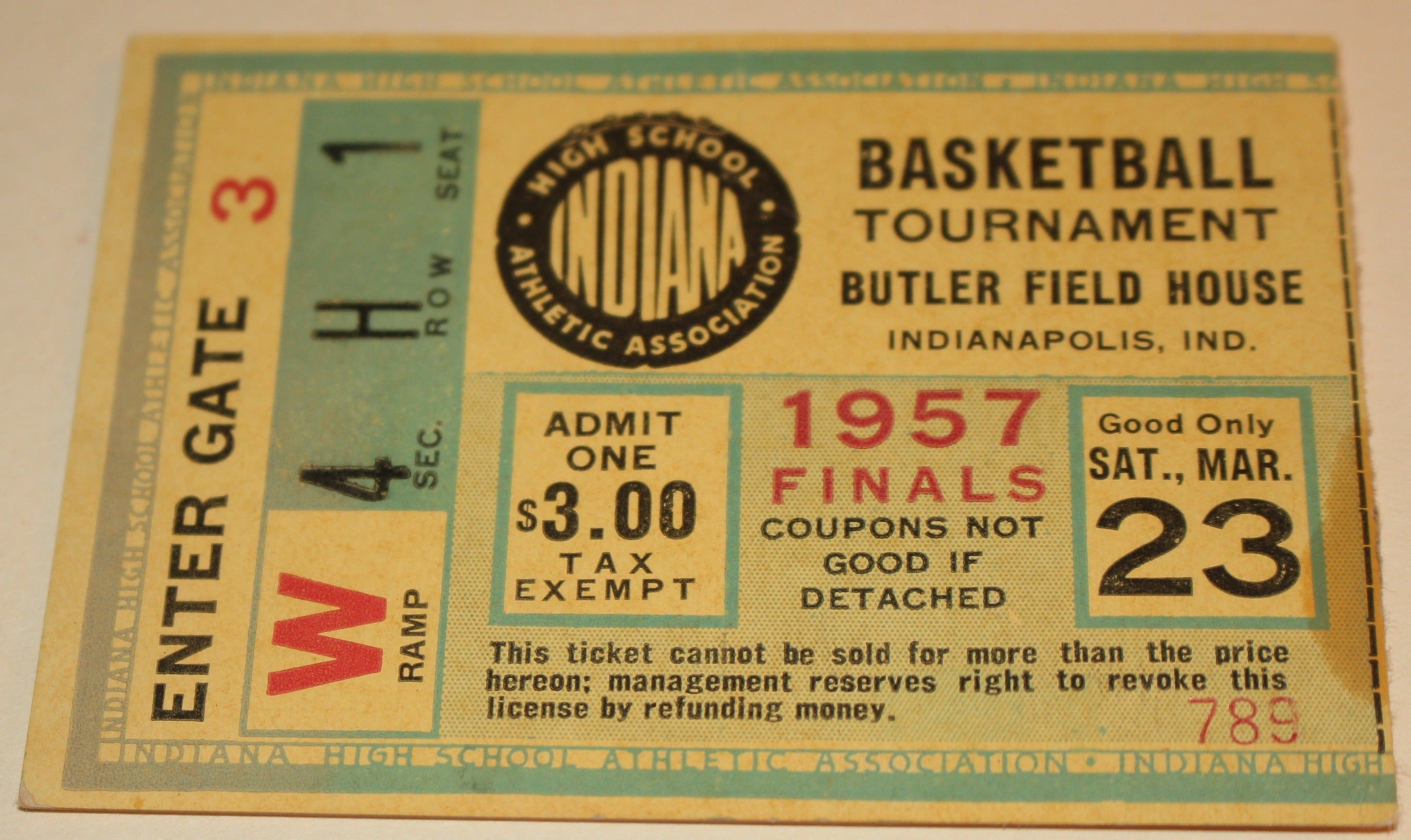 1957 Indiana High School Basketball State Finals Ticket Stub, South Bend Central Champs