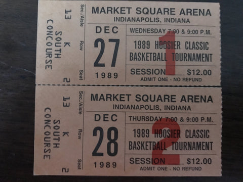 (2) Ticket Stubs from 1989 Hoosier Classic Basketball Tournament, Indiana University