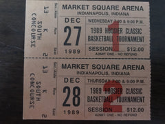 (2) Ticket Stubs from 1989 Hoosier Classic Basketball Tournament - Vintage Indy Sports
