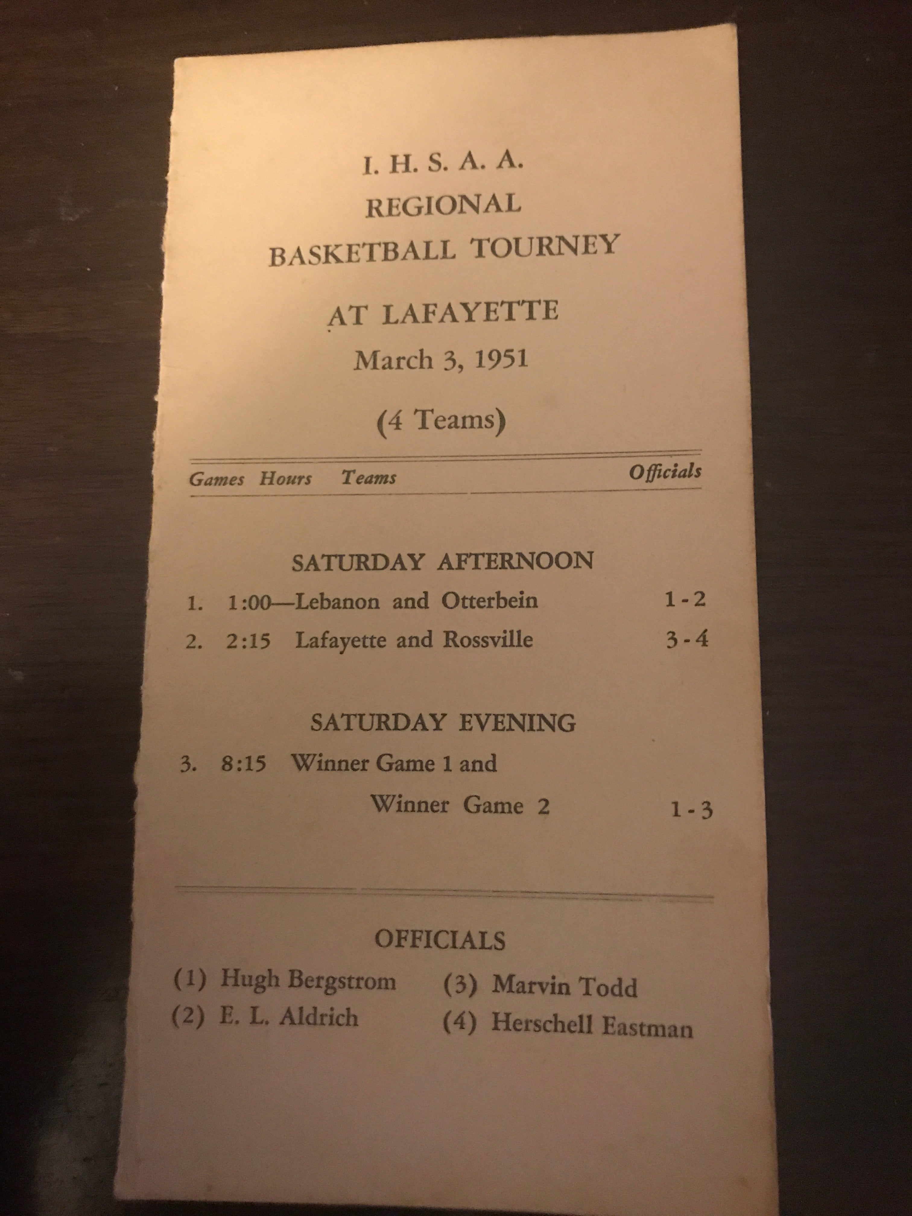 1951 Lafayette, Indiana High School Basketball Regional Tournament Program - Vintage Indy Sports
