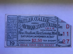 1927 Butler University at Michigan State University Football Ticket Stub - Vintage Indy Sports