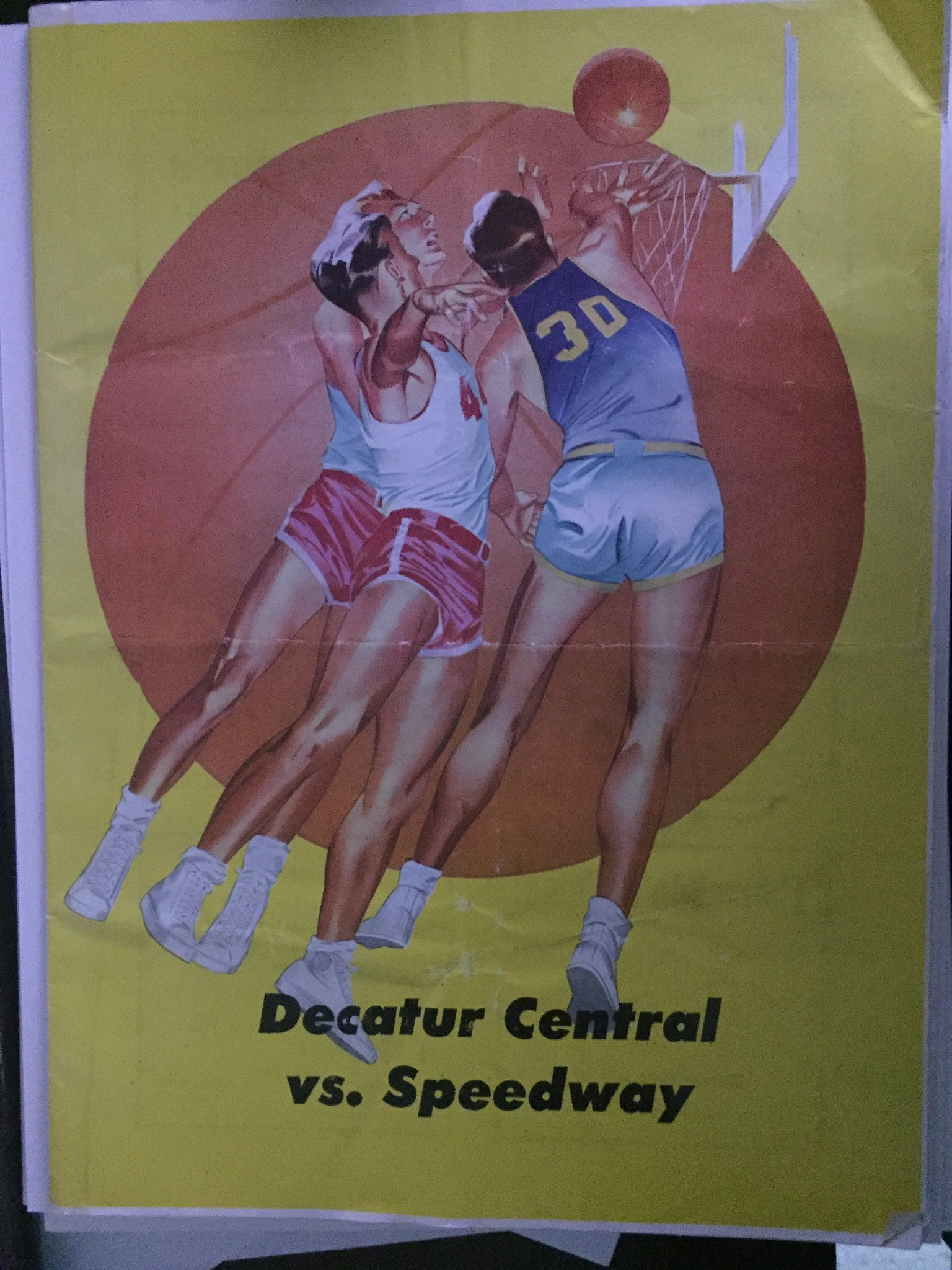 1951 Decatur Central vs Speedway Indiana High School Basketball Program - Vintage Indy Sports