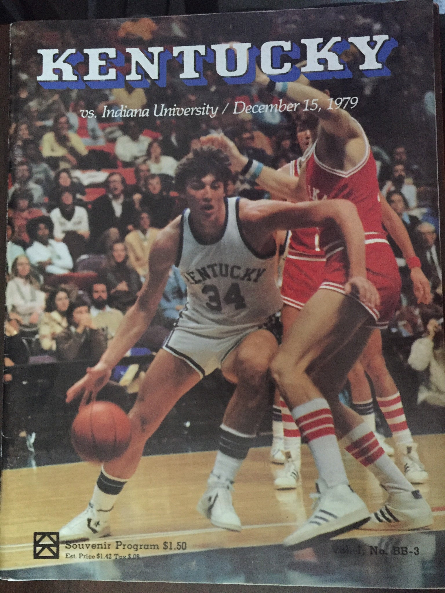 1979 University of Kentucky vs Indiana University Basketball Program, Rupp Arena - Vintage Indy Sports