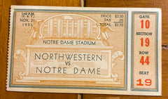 1936 Northwestern vs Notre Dame Football Ticket Stub