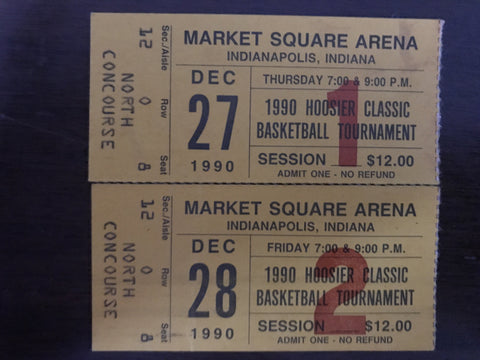 (2) Tickets Stubs from 1990 Hoosier Classic Basketball Tournament