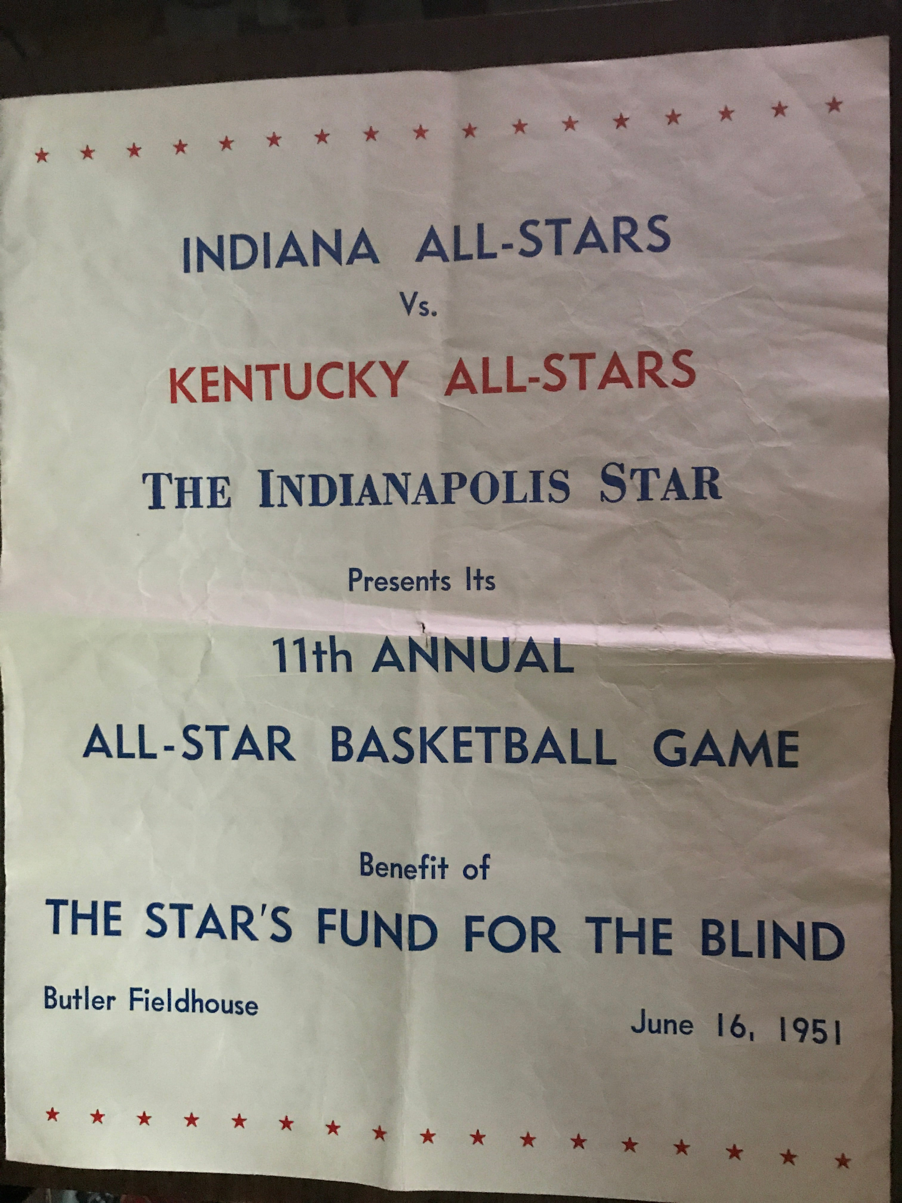 1951 Indiana vs Kentucky High School All Star Basketball Game Program - Vintage Indy Sports