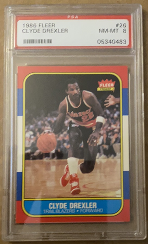 1986-87 Clyde Drexler Fleer Rookie Basketball Card #26, PSA 8 NM-MT