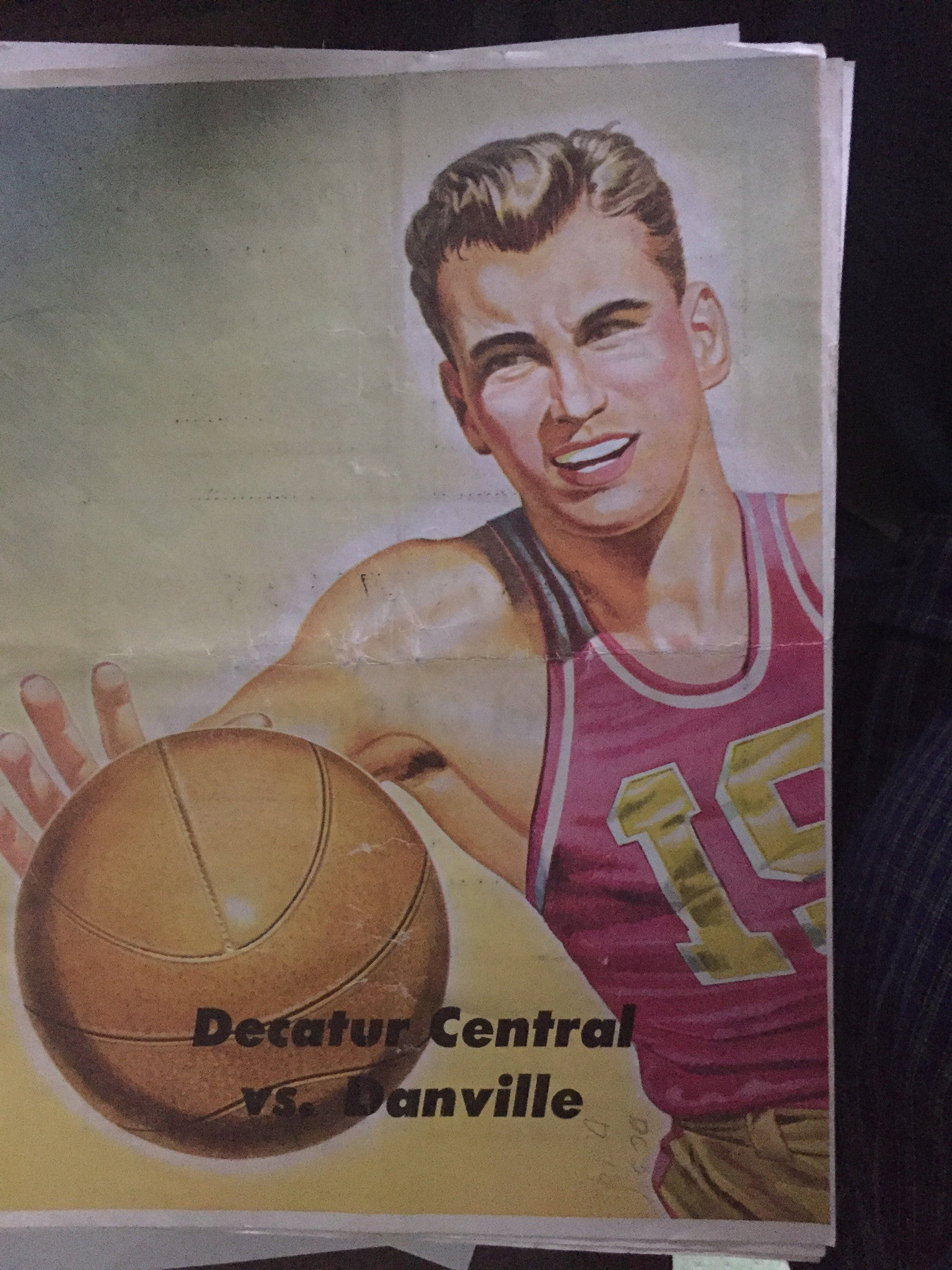 1951 Decatur Central vs Danville Indiana High School Basketball Program - Vintage Indy Sports