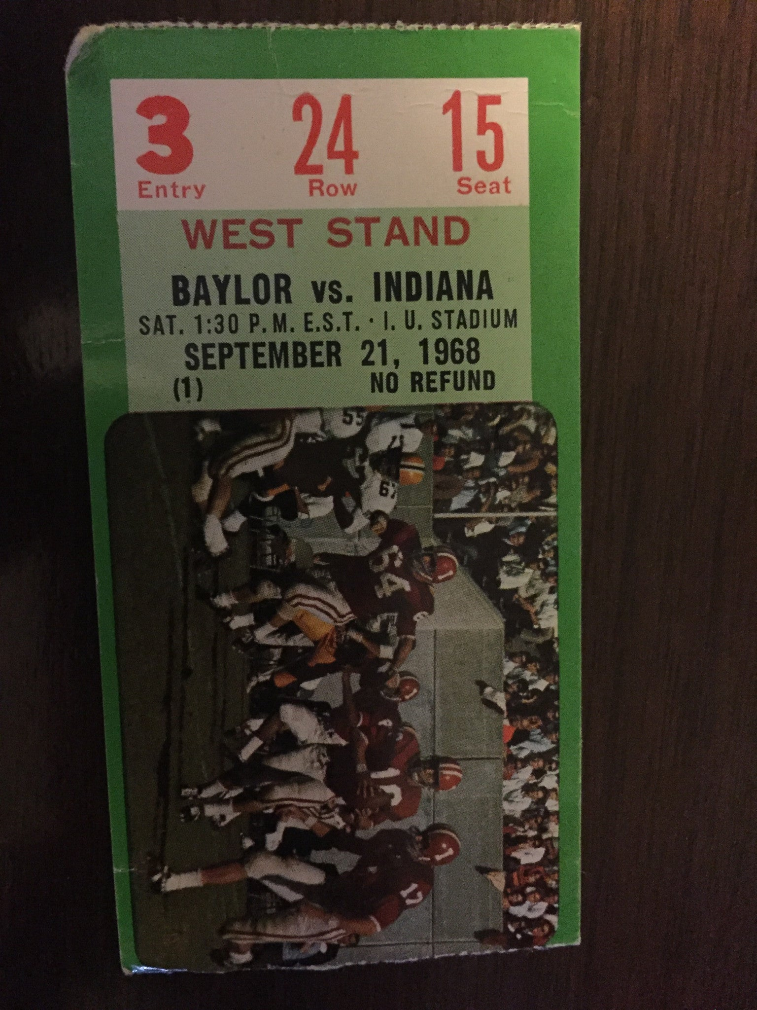 1968 Baylor vs Indiana University Football Ticket Stub - Vintage Indy Sports