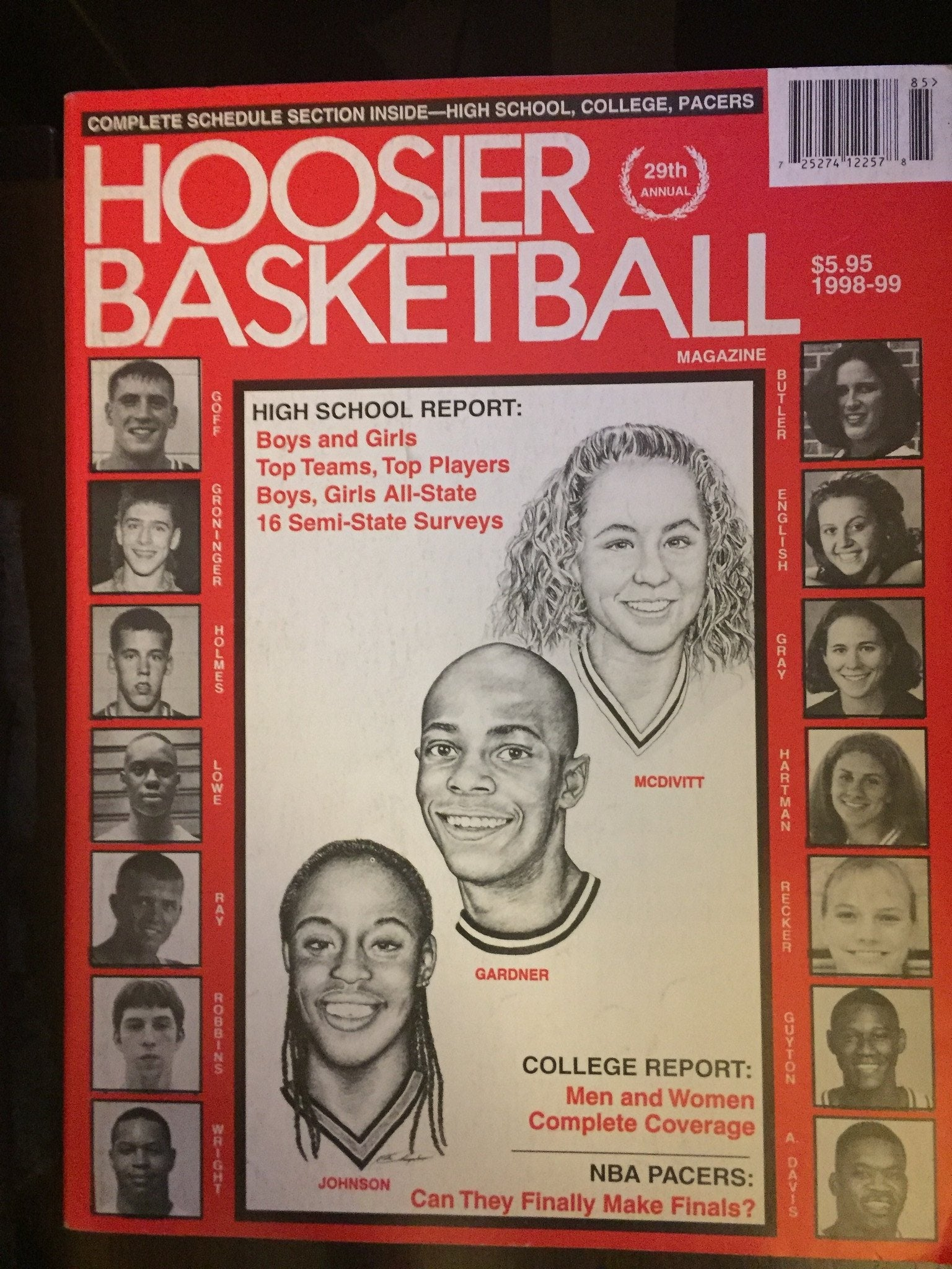 1998-99 Hoosier Basketball Magazine - Vintage Indy Sports