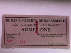 1926-27 Butler University Athletics Pass - Vintage Indy Sports