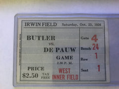1926 DePauw vs Butler University Football Ticket - Vintage Indy Sports