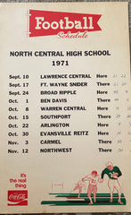 1971 Indianapolis North Central HS Coca Cola Football Schedule Poster