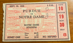 1939 Purdue vs Notre Dame Football Ticket Stub