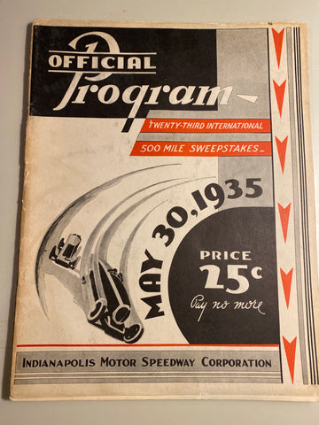 1935 Indianapolis 500 Race Program