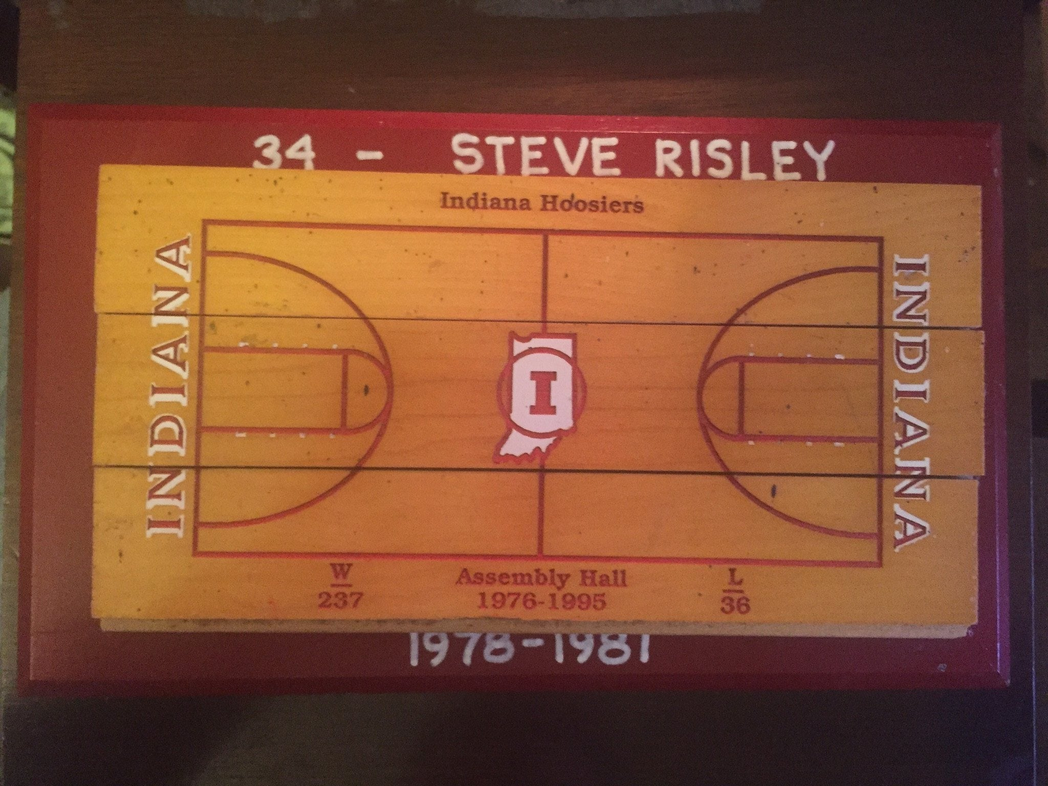 Indiana University Assembly Floor display, Steve Risley Personalized - Vintage Indy Sports