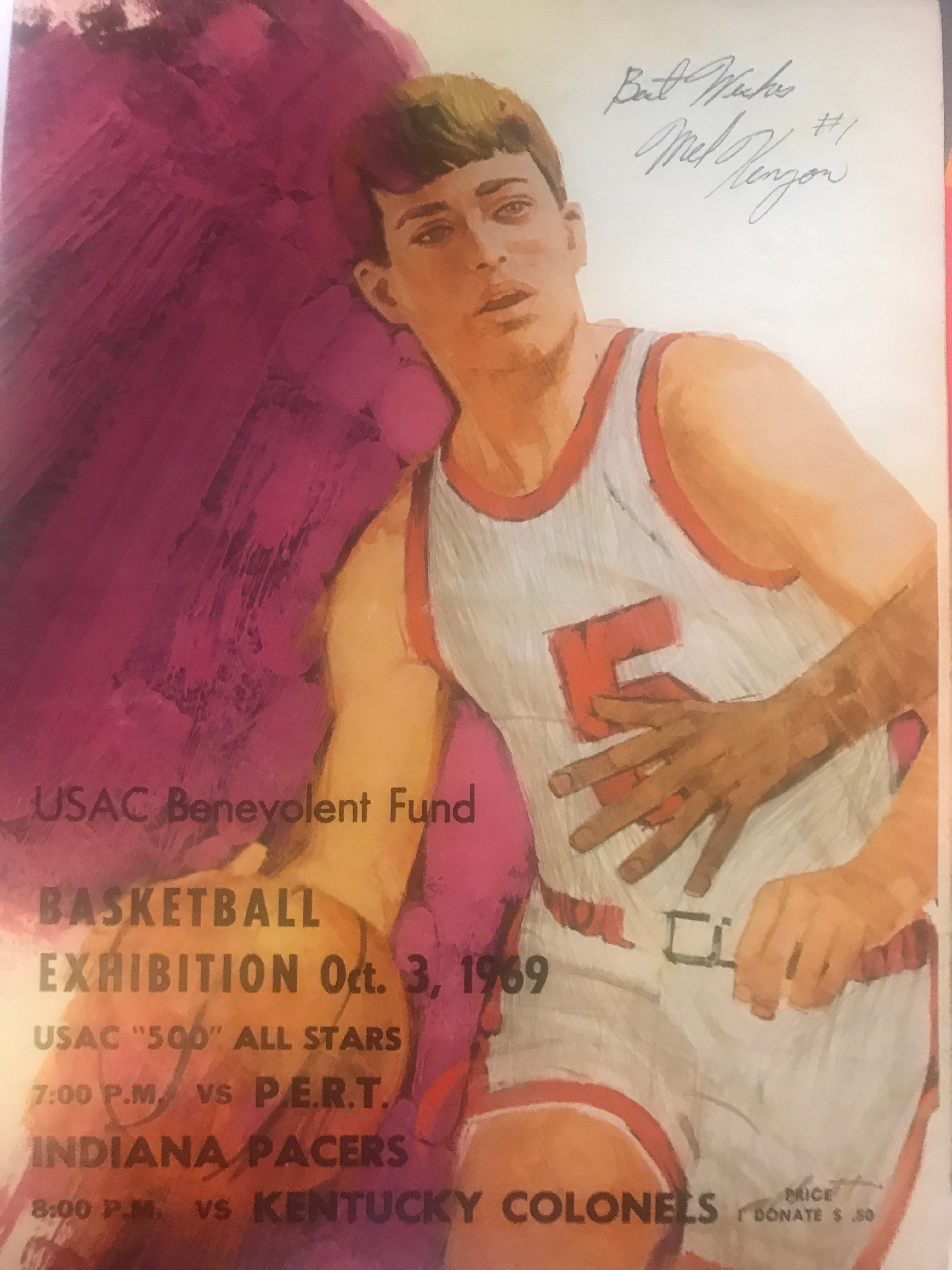 1969 ABA Basketball / USAC Racing Basketball Exhibition Program, Autographed - Vintage Indy Sports