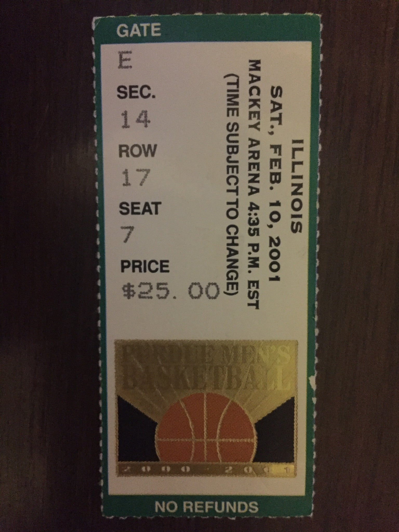 2001 Illinois vs Purdue Basketball Ticket Stub - Vintage Indy Sports