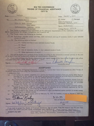 1977 Big Ten Indiana University Basketball Signed Letter of Intent