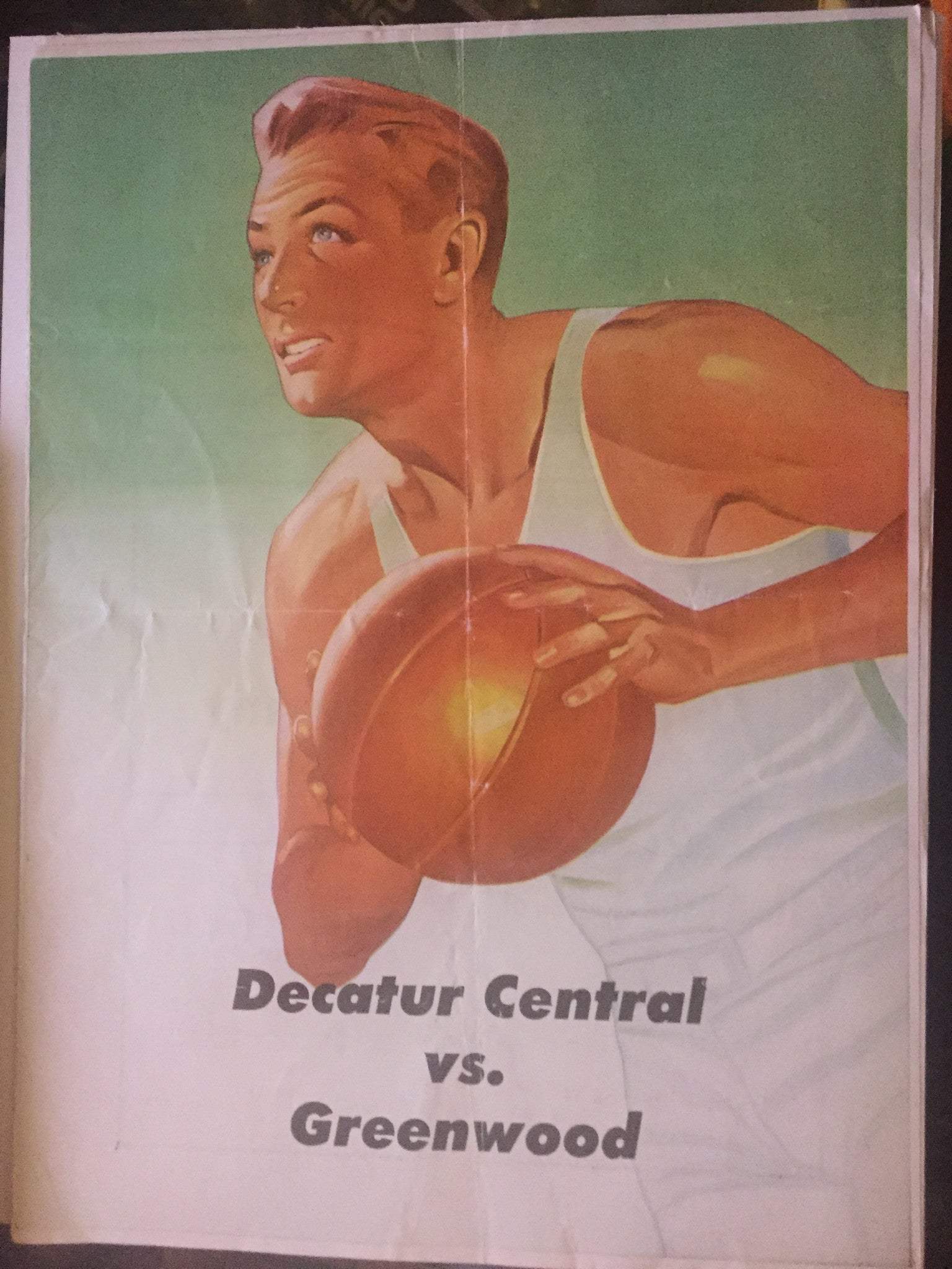 1950 Decatur Central vs Greenwood Indiana High School Basketball Program - Vintage Indy Sports