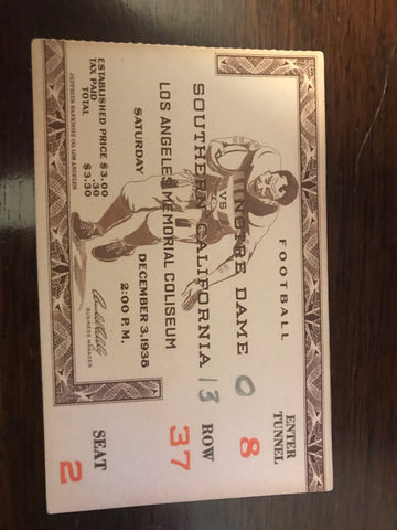 1938 Notre Dame vs USC Football Ticket Stub