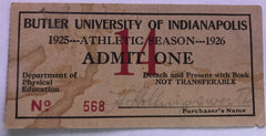 1925-26 Butler University Athletics Pass - Vintage Indy Sports