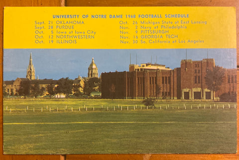 1968 Notre Dame Football Schedule Postcard