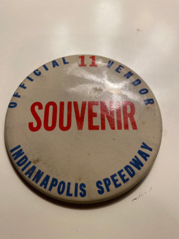 Vintage Indianapolis Motor Speedway Souvenir Vendor Button