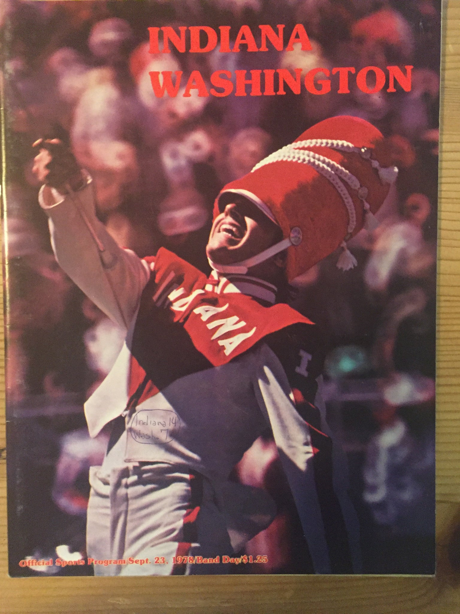1978 Washington vs Indiana Football Program - Vintage Indy Sports