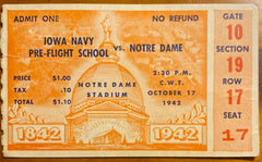 1942 Stanford vs Notre Dame Football Ticket Stub