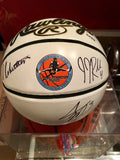 Oscar Robertson Logo Mini Basketball Signed by Big O, J.J. Reddick and Adam Morrison - Vintage Indy Sports