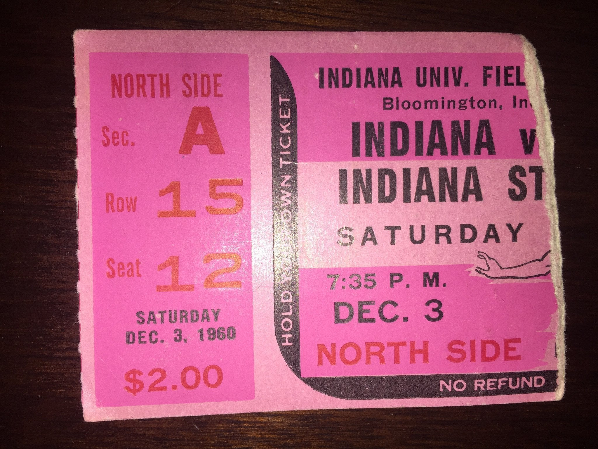 1960 Indiana University vs Indiana State Basketball Ticket Stub, 1st Game in Fieldhouse - Vintage Indy Sports