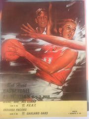 1968 ABA Basketball USAC Racing Exhibition Doubleheader Program, Autographed - Vintage Indy Sports