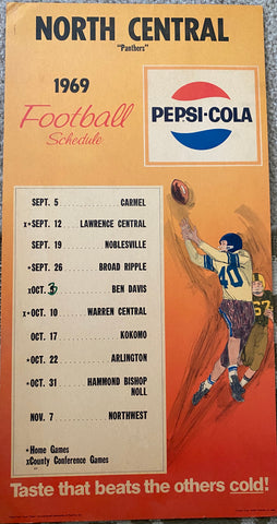 1969 Indianapolis North Central HS Football Pepsi Schedule Poster