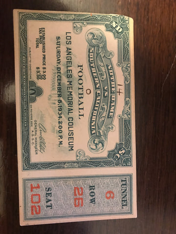 1934 Notre Dame vs USC Football Ticket Stub