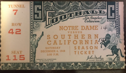 1947 Notre Dame vs USC Football Ticket Stub