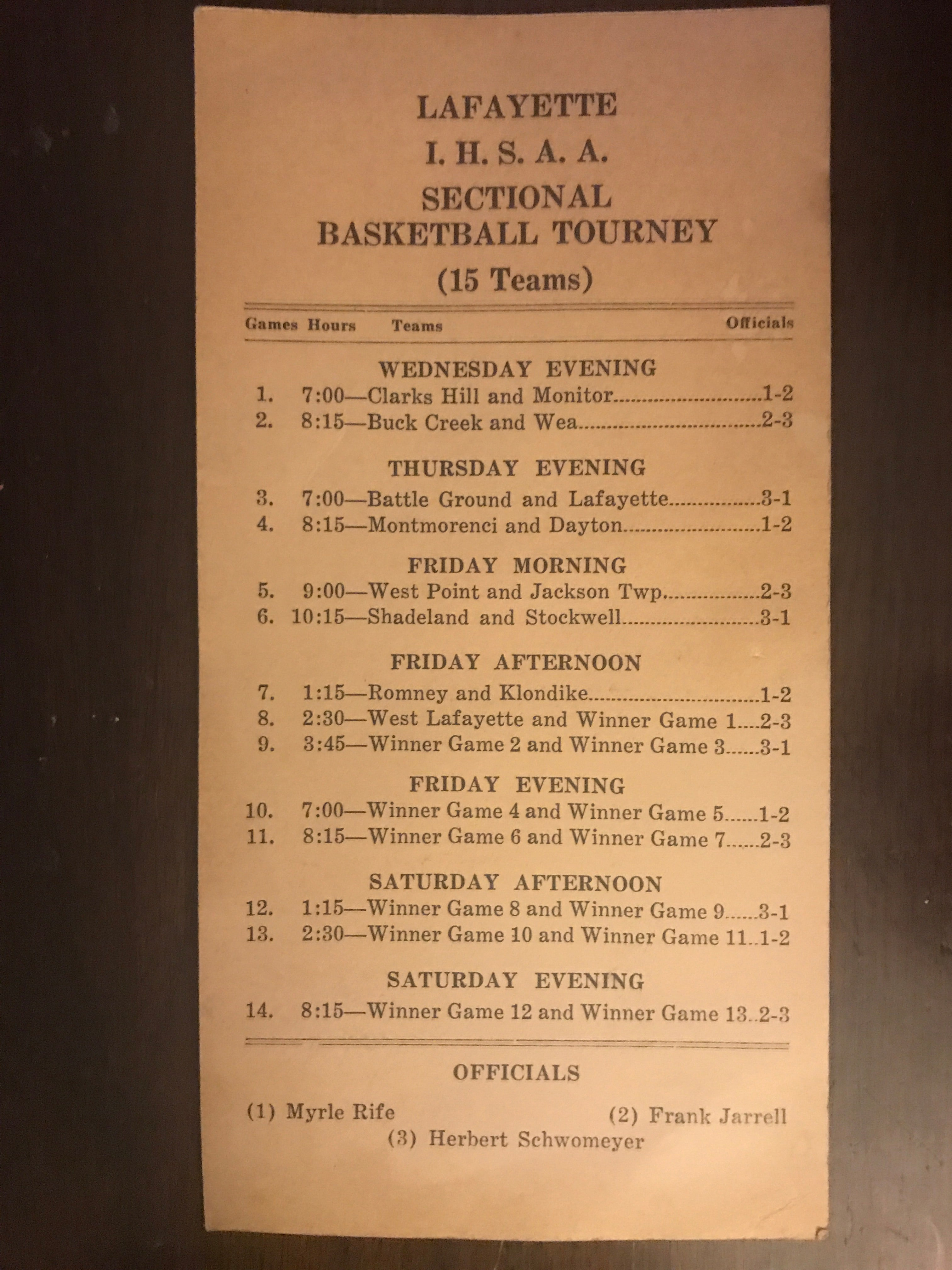 1948 Lafayette, Indiana High School Basketball Sectional Program - Vintage Indy Sports