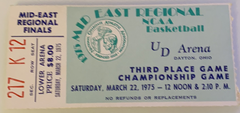 1975 NCAA Mid East Regional Championship Game Ticket, Indiana vs Kentucky