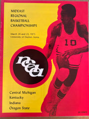 1975 NCAA Basketball Mideast Regional Program, Indiana University, Kentucky