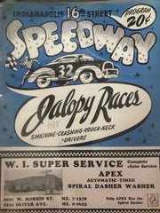 1955 Indianapolis 16th St. Speedway Jalopy Races Program - Vintage Indy Sports